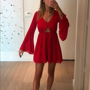 Red casual cutout dress